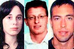 Passports used: Suspects travelling under the names of (l to r) Nicole Sandra McCabe, Joshua Daniel Bruce and Adam Korman (Reuters)