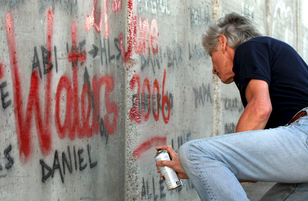 Roger Waters visiting Israel's controversial separation wall surrounding Bethlehem