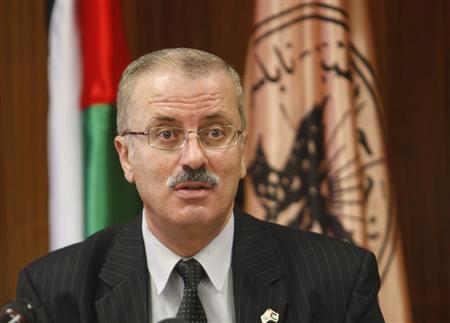 File photo of Rami Hamdallah speaking at the university in Nablus