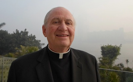 Bishop Pates poses for photo on banks of Nile River in Cairo
